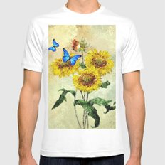 Summer Flowers and Butterflies Mens Fitted Tee MEDIUM White