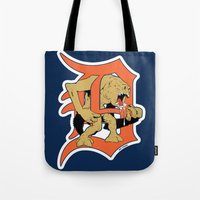 detroit Tote Bags featuring Detroit Rancors by Ant Atomic