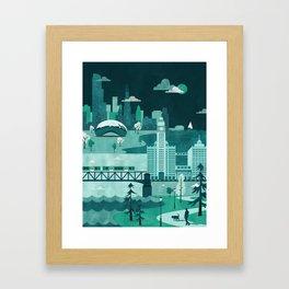 Chicago Travel Poster Illustration Framed Art Print