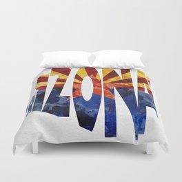 Arizona Typographic Flag Map Art Duvet Cover