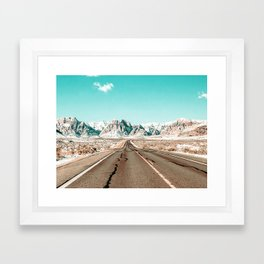 Vintage Desert Road // Winter Storm Red Rock Canyon Las Vegas Nature Scenery View Framed Art Print