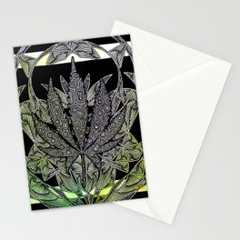Green Cannabis Leaf Stationery Cards