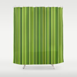 Many multicolored strips in the green sample Shower Curtain
