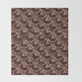 Precious copper scales Throw Blanket