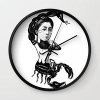 scorpio Wall Clocks featuring Scorpio by Carolina Espinosa