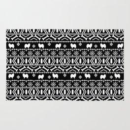 Japanese Spitz fair isle dog breed silhouette pet art pattern christmas ugly sweater Rug