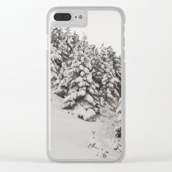 Snowy trees. Retro Clear iPhone Case