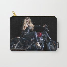 Blonde Biker Girl Pin-Up Carry-All Pouch