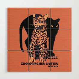 Retro vintage Munich Zoo big cats Wood Wall Art