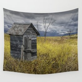 Rural Outhouse langishing in the Countryside Wall Tapestry