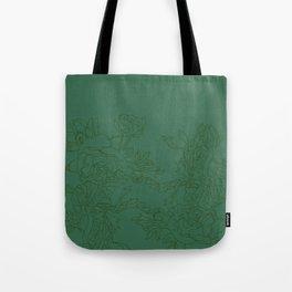 Floral Ink - Emerald & Olive Ranunculus Tote Bag