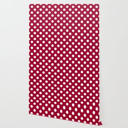 Red and Polka White Dots Wallpaper