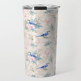 Chic Watercolour Blue Jay Spring Flowers Travel Mug