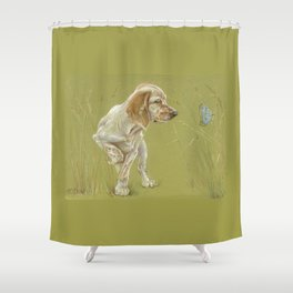 The First Spring Butterfly English Setter Puppy Pastel Drawing on green background Shower Curtain