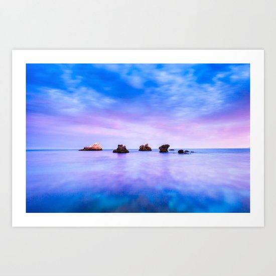 rocks and sea Art Print