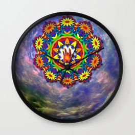 Jerry Hand in a Daisy Mandala Wall Clock