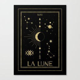 The Moon or La Lune Gold Edition Canvas Print