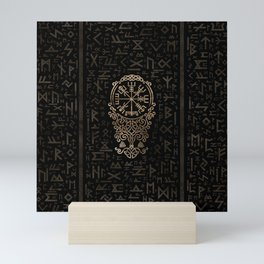 Vegvisir - Viking Compass on Futhark pattern Mini Art Print