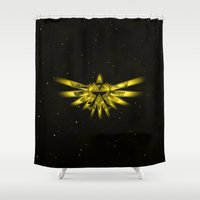 zelda Shower Curtains featuring Zelda - Triforce by albert Junior