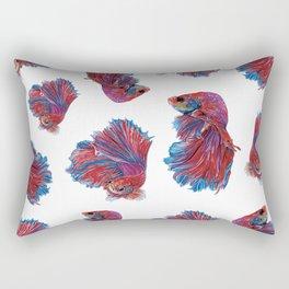 Ocean Theme- Red Blue Betta Fish Rectangular Pillow