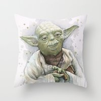 yoda Throw Pillows featuring Yoda  by Olechka