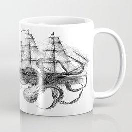 Octopus Attacks Ship on White Background Coffee Mug