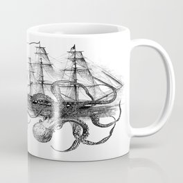 Octopus Attacks Ship on White Background Coffee Mug