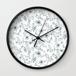 Blue Daisy Floral Wall Clock