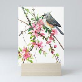 Titmouse and Cherry Blossom, birds and flowers design artwork Mini Art Print