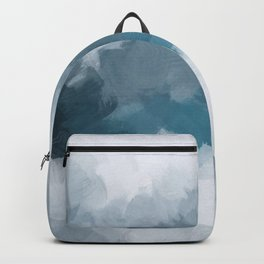 Blue Gray Navy Indigo Abstract Snow Mountain Nature Winter Rustic Painting Art Print Wall Decor  Backpack