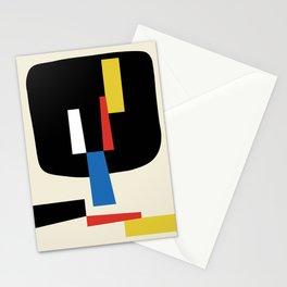 Bauhangular VI - Bauhaus Style Minimalist Modern Abstract Red Yellow Blue Black Stationery Cards
