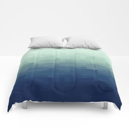 Gradient Pixel Aqua Comforters