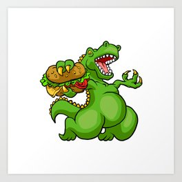 dinosaur eating hamburger Art Print