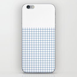 Dotted Grid Boarder Blue on White iPhone Skin