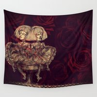 twins Wall Tapestries featuring Gothic Twins by AKIKO