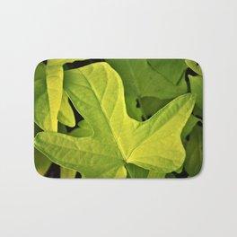 Golden Green Oak Leaves Bath Mat