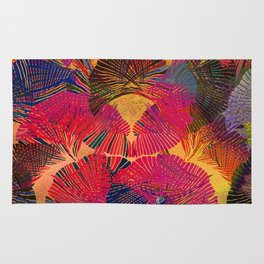 Rainbow background. Gingko biloba leaves. Hand painted Pattern. Rug
