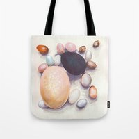 eggs Tote Bags featuring Eggs by Bridget Davidson
