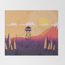 VECTOR ART LANDSCAPE WITH FIRE LOOKOUT TOWER Throw Blanket