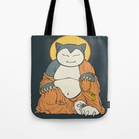 snorlax Tote Bags featuring Hotei Snorlax by Mallory Hodgkin
