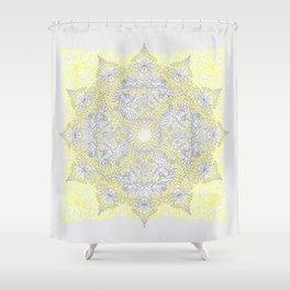 Sunny Doodle Mandala in Yellow & Grey Shower Curtain