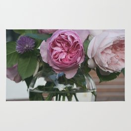 Photograph of Pink Roses in Glass Bowl Rug