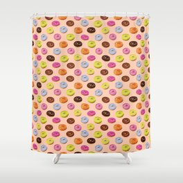 Glazed watercolor donuts on pink Shower Curtain