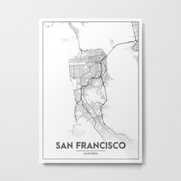 Minimal City Maps - Map Of San Francisco, California, United States Metal Print