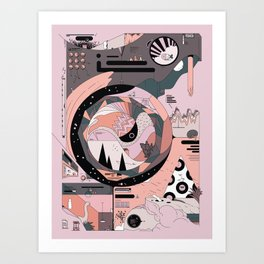 Dinosaur in the Kitchen Art Print