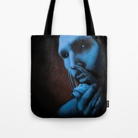 cocaine Tote Bags featuring Cocaine Blue by Michal Szyksznian