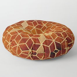 Shades Of Orange and Dark Red Cubes Pattern Floor Pillow