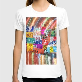 License Plate Map of United States Lights T-shirt