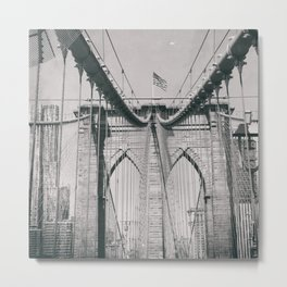 Brooklyn bridge, architecture, vintage photography, new york city, NYC, Manhattan view Metal Print