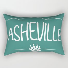 Asheville, NC - Black Bear Paw - AVL 14 White on Green Rectangular Pillow